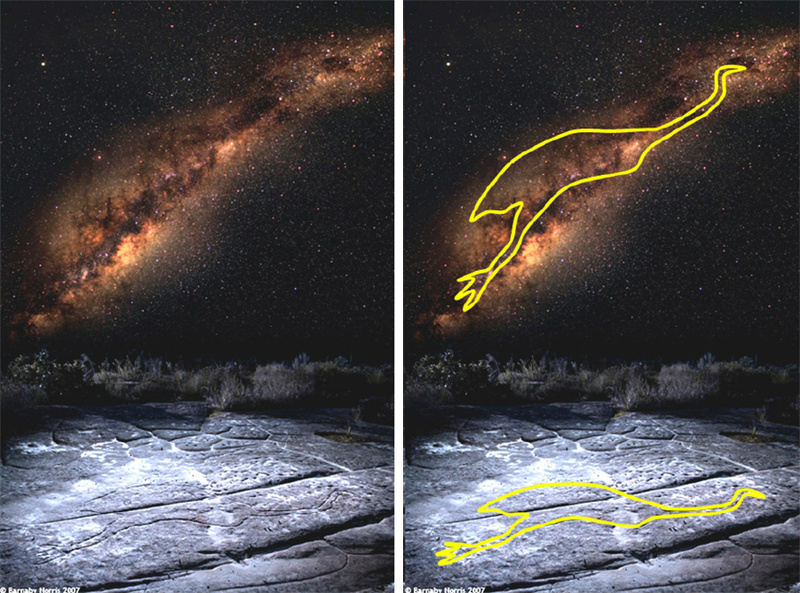 Composite image showing the emu in the stars and the carving on the rock