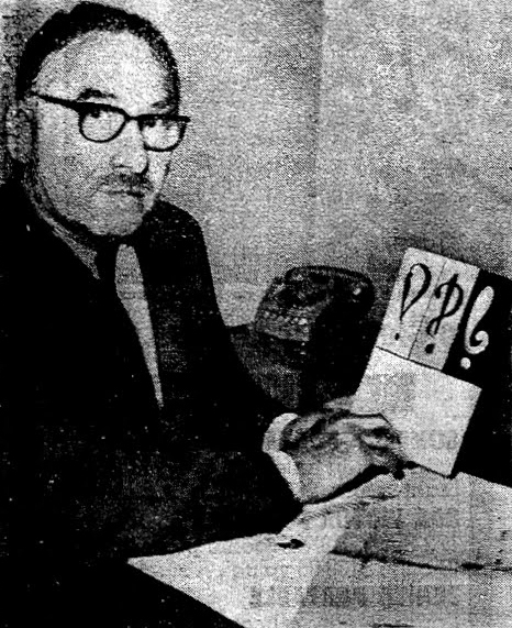 Martin Speckter with early interrobang designs. Image from the World-Herald, June 1967