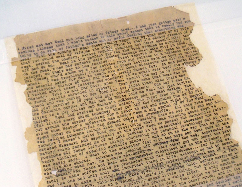 The beginning of the 'On The Road' scroll