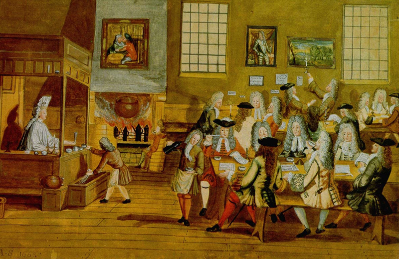 Artwork depicting the interior of a London coffeehouse in the 17th Century