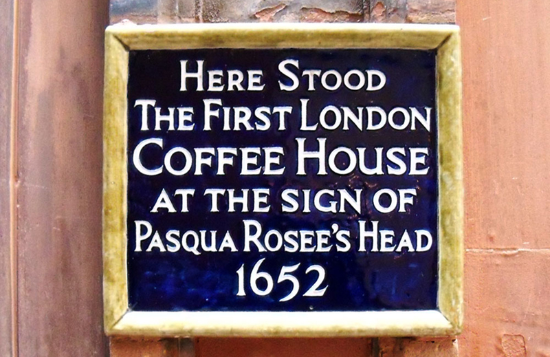 A  plaque marking the site of London's first coffee house