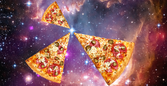 A mock-up of pizza slices floating in outer space