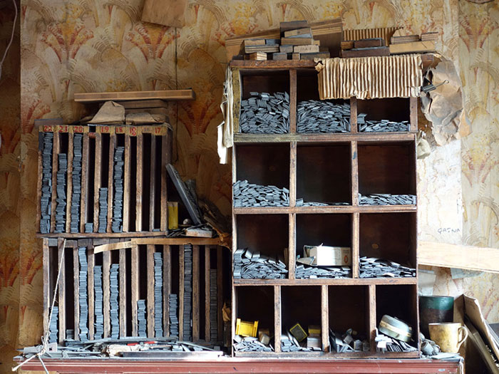 Cabinets full of type spacers, in the compositors room on the first floor
