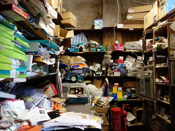 Messy shelves on the ground floor of Arber's