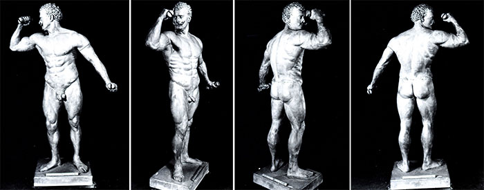 A composite image of different views of the Eugen Sandow statue