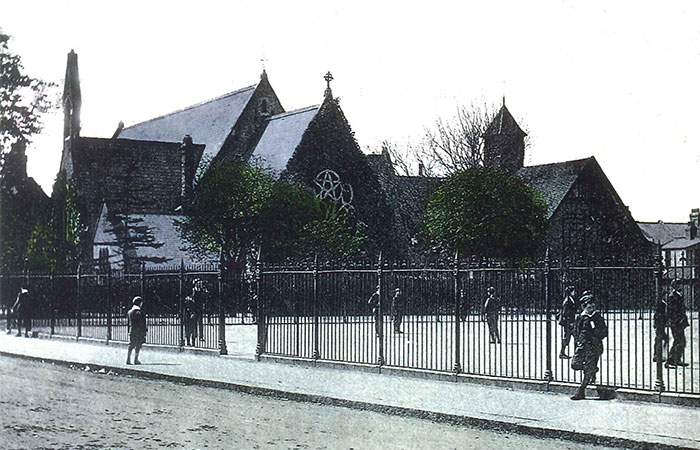 The William Wigginton-designed All Saints Church in Leyton, featuring a pentagram, pictured c1905