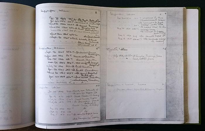 A book of facsimiles of RIBA index cards listing William Wigginton's building designs