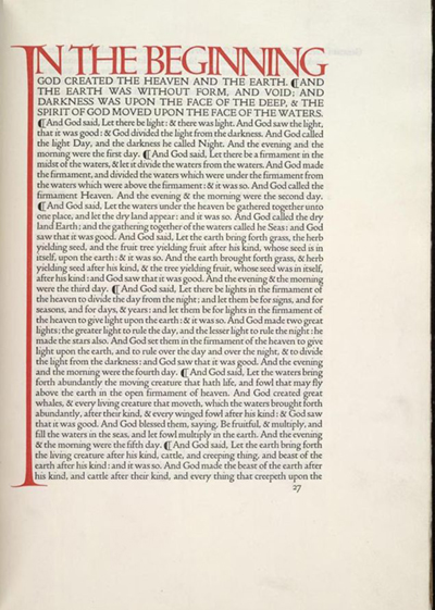 A page from the bible, printed in Doves Type
