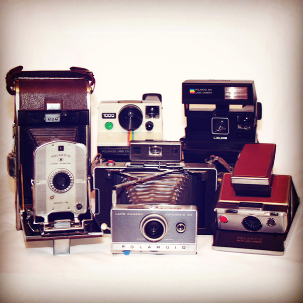 Instagram image of a collection of different models of Polaroid cameras