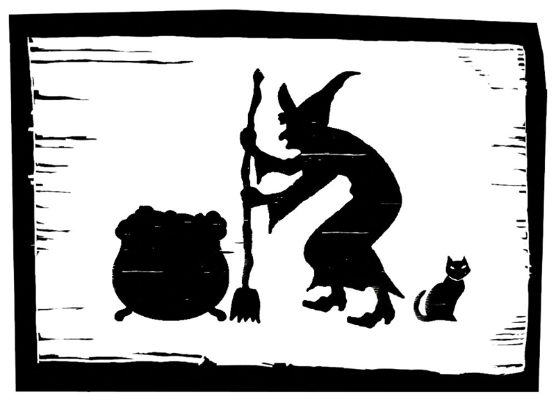 A woodcut-style image of a witch at a cauldron