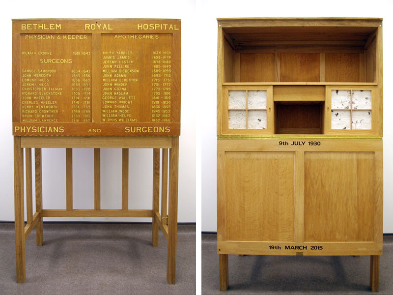 Two images of the bureau side by side, one with the front flap open
