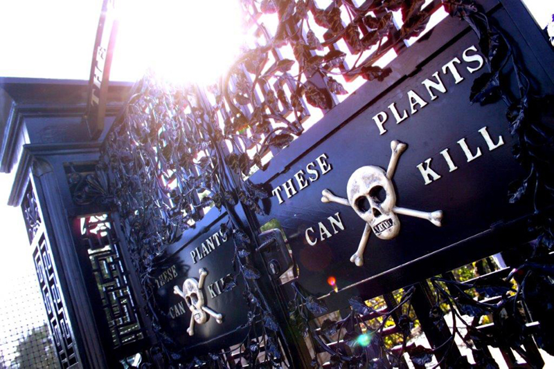 Entrance gate to Alnwick Poison Garden, with skull and cross bones