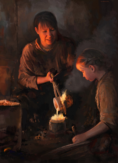 Illustration of a woman pouring molten metal while a child looks on